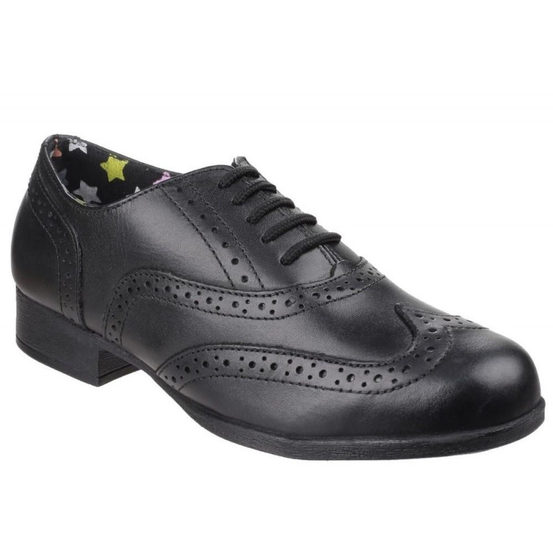 100/% Postive Reviews Hush Puppies Kada Girls Lace Black Leather School Shoes