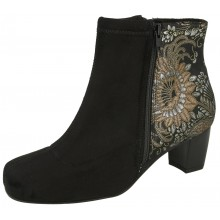 Winton Black Print Suede / Sueddette Stretch